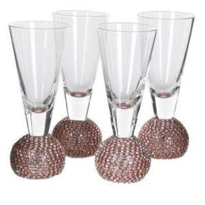 Shot Glasses - Pink Crystal Ball Design - Set Of 4