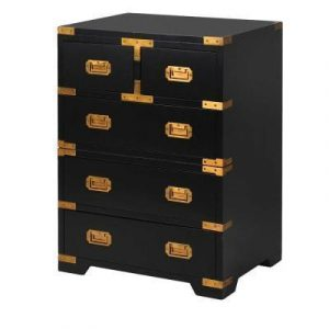 Bedside Cabinet - Black & Gold Edged - 5 Drawers - Dorchester Black Range