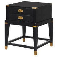 Bedside Cabinet - Black & Gold Edged - 2 Drawers - Dorchester Black Range