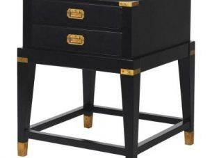 Bedside Cabinet - Black & Gold Edged - 2 Drawers - Dorchester Black Range