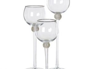 Candle Holders - Silver Crystal Ball Set Of 3 Candle Holders