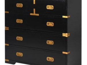 Chest Of Drawers - Black & Gold Edged Split 3 Drawers - Dorchester Black Range