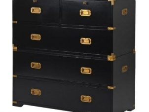 Chest Of Drawers - Black & Gold Edged 2 Over 3 Drawers - Dorchester Black Range