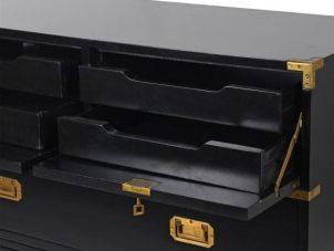 Chest Of Drawers - Black & Gold Edged Split 3 Drawers - Dorchester Black Range