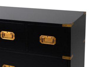 Chest Of Drawers - Black & Gold Edged - 7 Drawers - Dorchester Black Range