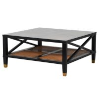 Coffee Table - Black - Glass Top - Rattan - Dorchester Black Range