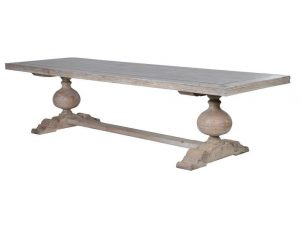 Dining Table - Motif Design Top - 6 to 10 Seat Table - Carved Washed Oak