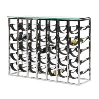 Wine Rack - 7 Layer Chrome & Leather Wine Rack - Contemporary Design