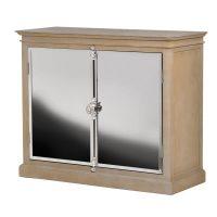 Sideboard - Solid Oak Surround - 2 Door Polished Chrome Sideboard