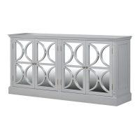 Sideboard - 4 Door Rear Mirrored Glass Design Sideboard - French Grey Range