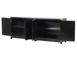 Sideboard - Black & Gold Edged - 4 Doors - Dorchester Black Range