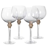 Gin Glasses - Gold Crystal Ball Design - Set Of 4