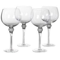 Gin Glasses - Silver Crystal Ball Design - Set Of 4