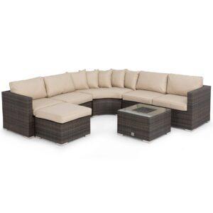 Sofa Set - Garden Corner Sofa Set - Ice Bucket Coffee Table - Taupe Cushions - Brown Polyweave