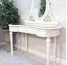 Dressing Table & Mirror - Mirror Top - Kidney Shaped - Antique White Range