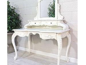 Dressing Table - Carved Dressing Table With Mirror - French Antique White