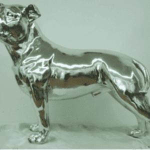 Bulldog - Large Silver Standing Bulldog Statue