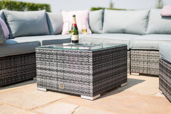 Garden Corner Sofa Dining Set - Central Ice Bucket - Chair - Grey Poly Weave
