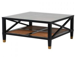 Coffee Table - Black - Glass Top - Rattan - Dorchester Black Range