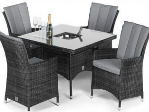 4 Seat Square Garden Dining Set - Umbrella & Base - Ice Bucket - Grey Polyweave