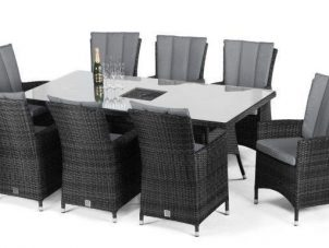 8 Seat Rectangular Outdoor Dining Set - Central Ice Bucket - Grey Polyweave