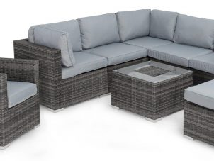 Garden Corner Sofa Dining Set - Central Ice Bucket - Chair - Grey Poly Weave