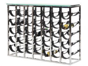 Wine Rack - 7 Layer Chrome & Leather Wine Rack - Contemporary Design