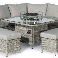 Corner Sofa Dining Set - Fire Pit Dining Corner Set - Grey Poly Rattan
