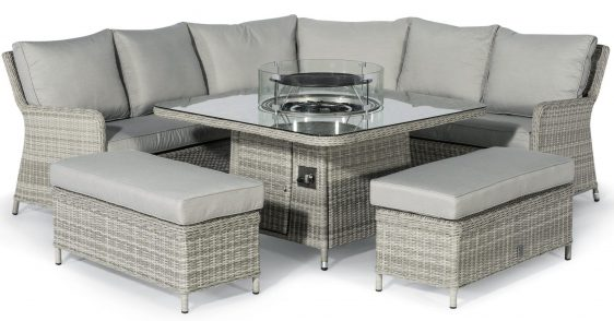 Corner Sofa Dining Set - Fire Pit Dining Corner Set - Grey Poly Rattan