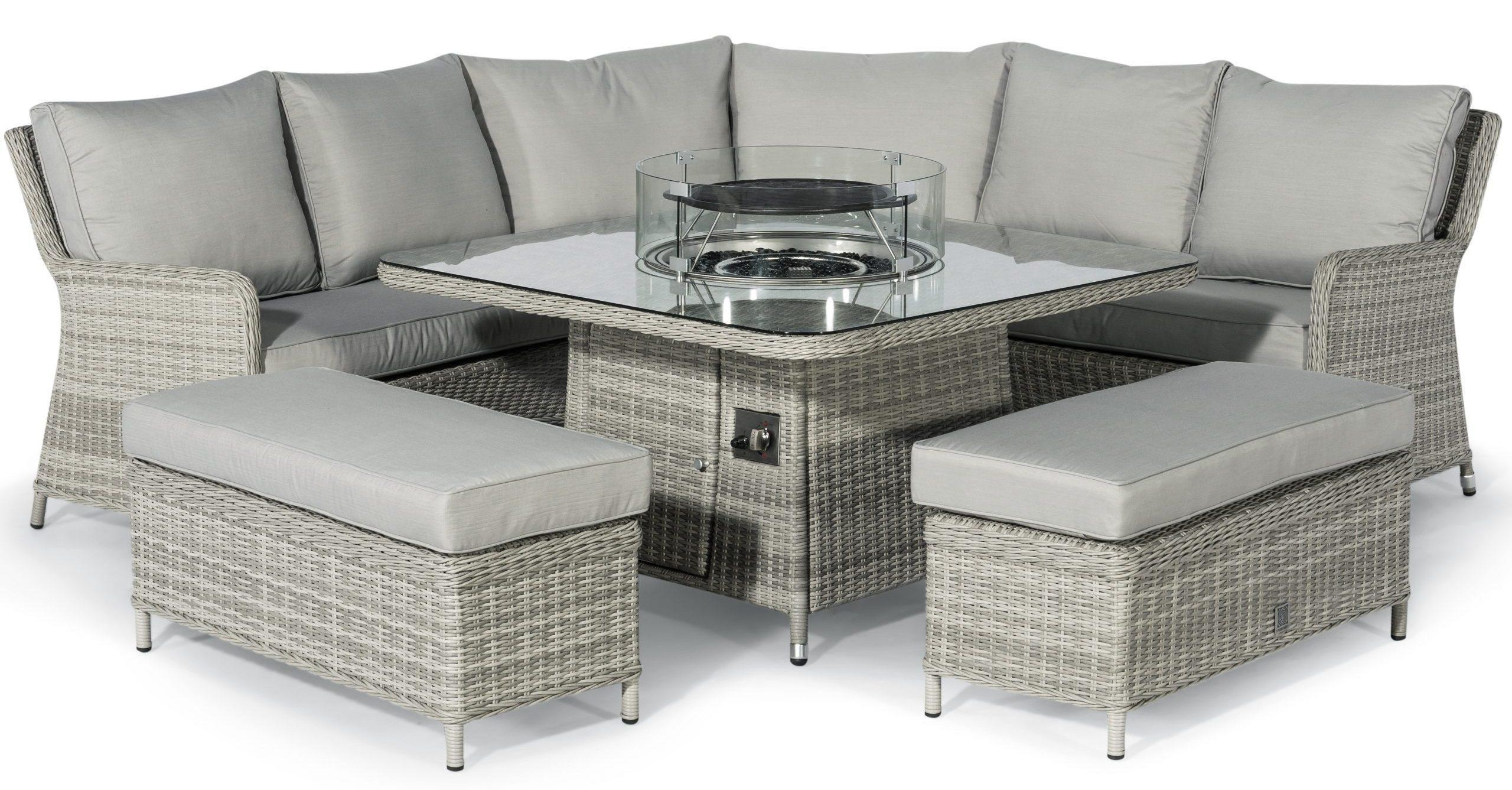 Picture of: Corner Sofa Dining Set Fire Pit Dining Corner Set Grey Poly Rattan