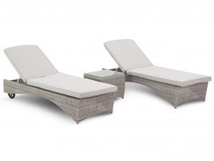 Sun Lounger - Double Sun-lounger & Side Table Set - Light Grey Polyweave