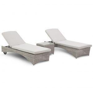 Double Sun Lounger Set - Side Table - Light Grey Polyweave