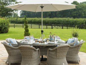 8 Seat Round Garden Table Set - Inset Ice Bucket - Umbrella & Base - Heritage Chairs - Grey
