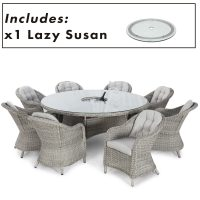 8 Seat Round Garden Table Set - Inset Ice Bucket - Umbrella & Base - Heritage Chairs - Grey