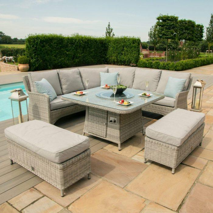 Corner Sofa Fire Pit Dining Set - Square Dining Table - Grey Poly Rattan