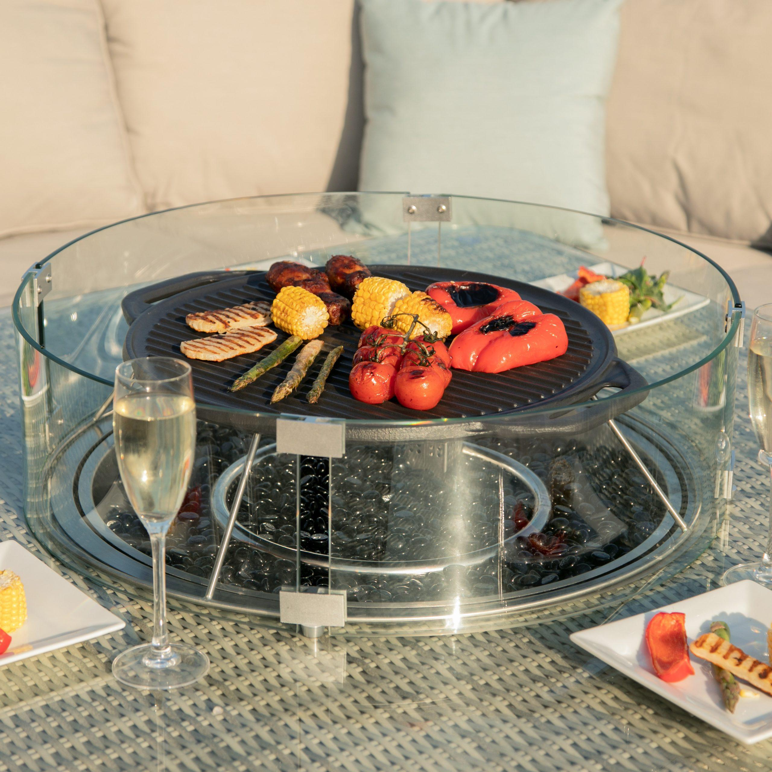Corner Sofa Fire Pit Dining Set - Square Dining Table ...