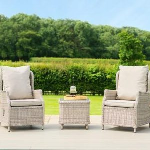 2 Seat Bistro Set - Glass Top Table & 2 Reclining Chairs - Grey Round Polyweave