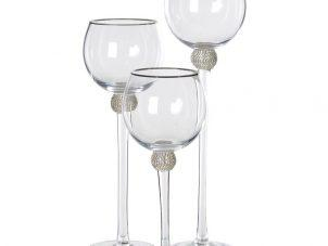 Candle Holders - Silver Crystal Ball Tiered Design - Set Of 3