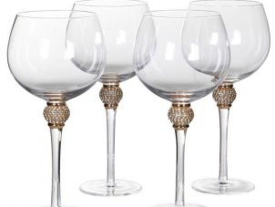 Gin Glasses - Tall Stem Gold Crystal Ball Design - Set Of 4