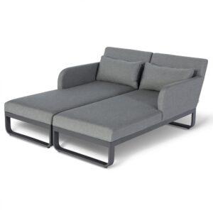 Sun Lounger Set - All Weather Fabric Double Sun Lounger - Grey