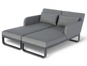 Sun Lounger Set - All Weather Fabric Double Sun Lounger - Grey