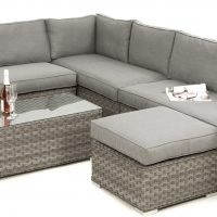 Garden Corner Sofa Dining Set - Large Corner Group - Coffee Table - Grey Flat Weave