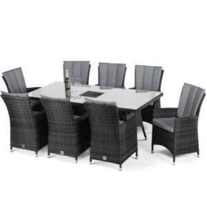 8 Seat Rectangular Outdoor Dining Set - Central Ice Bucket - Grey Polyweave