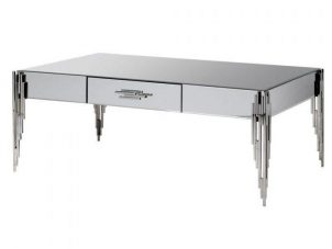 Coffee Table - Polished Chrome & Mirrored Finish - 1 Drawer