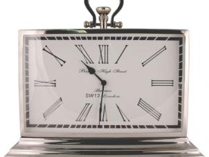 Mantel Clock - Barnes Clock Company - Chrome Mantel Clock - Roman Numerals
