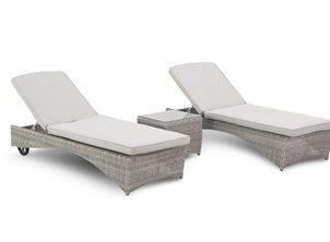 Sun Lounger Set - Double Sun-lounger & Side Table - Light Grey Polyweave