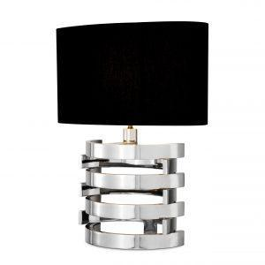 Table Lamp - Small Chrome Spiral Design Base - Black Oval Shade