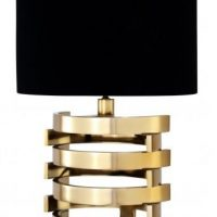 Table Lamp - Small Gold Spiral Design Base - Black Oval Shade