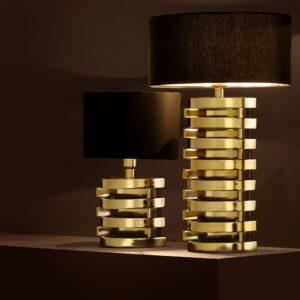 Table Lamp - Polished Gold Spiral Design Base - Black Oval Shade