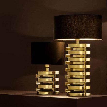 Table Lamp & Shade - Gold Spiral Design Base - Black Oval Shade
